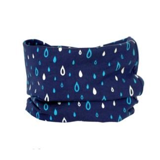 Cuello braga de entretiempo con estampado de gotas de lluvia en azul