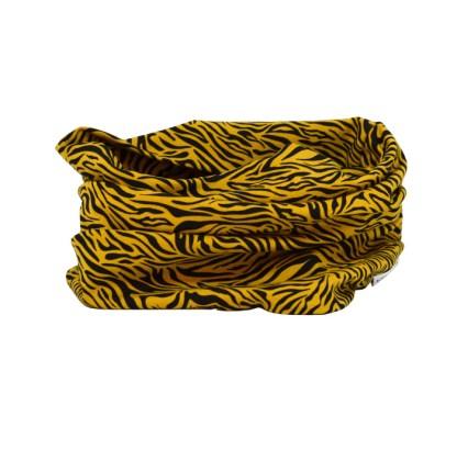 Cuello de entretiempo de estampado animal en amarillo y negro