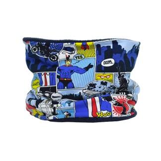 Cuello polar de comic en azul y negro. Protege el cuello del frio.