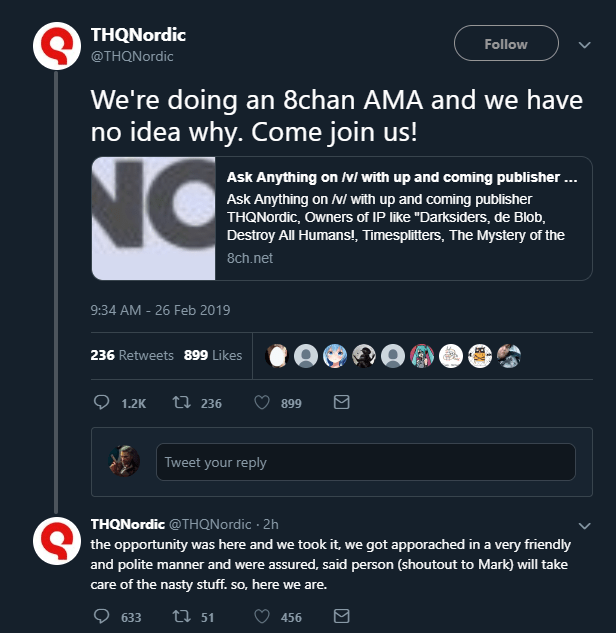 THQ Nordic Holds AMA on 8chan