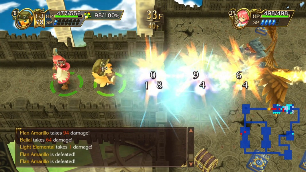 Chocobo fighting in a dungeon