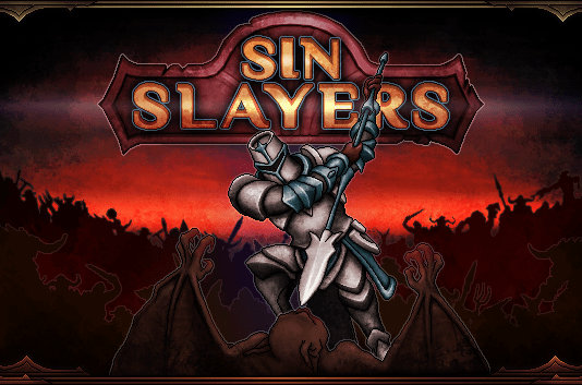 A banner image of a knight swinging a sword over the Sin Slayers banner.