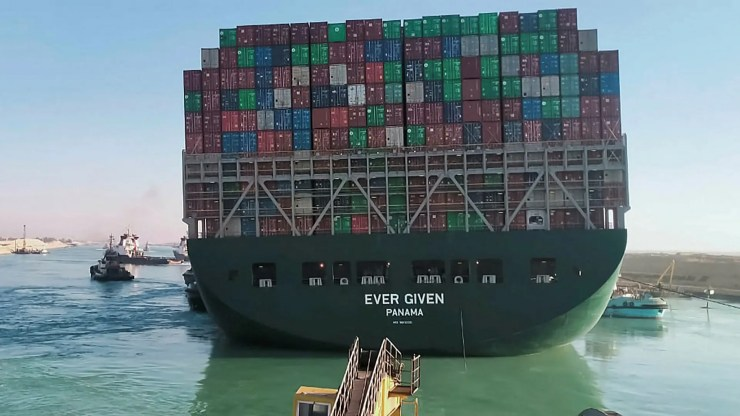 The Ever Given ship is stuck in the Suez Canal