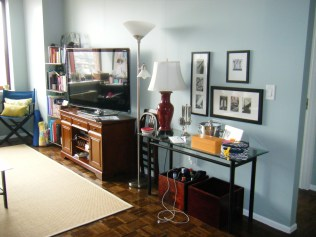 Red lamp, and wooden TV cabinet