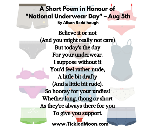 A Short Poem in Honour of National Underwear Way by Alison Reddihough