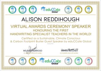 Certificate for Alison Reddihough as the Virtual Awards Ceremony Speaker