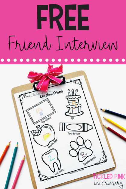 This FREE friendship interview worksheet is great for back to school. Help build a classroom community and let students get to know each other at the beginning of the year. #backtoschool #classroomcommunity #friendship #free #kindergarten