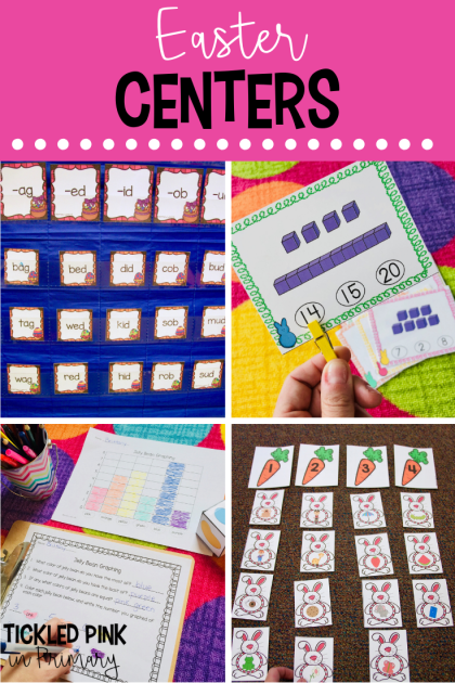 Check out these Kindergarten Easter centers for literacy or math. #kindergarten #mathcenters #literacycenters #eastercenters #easter #firstgrade