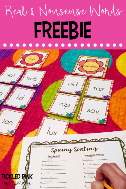 Click to try this FREE Kindergarten real and nonsense words sorting activity for your Spring centers. #nonsensewords #kindergarten #free #wordwork