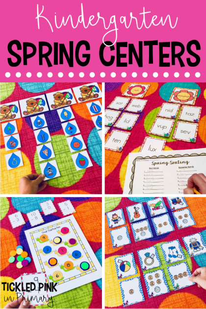 Check out these Kindergarten Spring centers for literacy and math. Activities include syllables, blends, subtraction, telling time, and more! Click to see more! #kindergarten #mathcenters #literacycenters #spring #springcenters