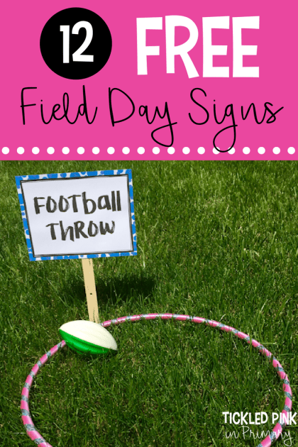 Check out these fun field day games and grab 12 FREE signs for your stations! This football toss game is harder than it looks! Click to learn more. #fieldday #endoftheyear #fielddaygames
