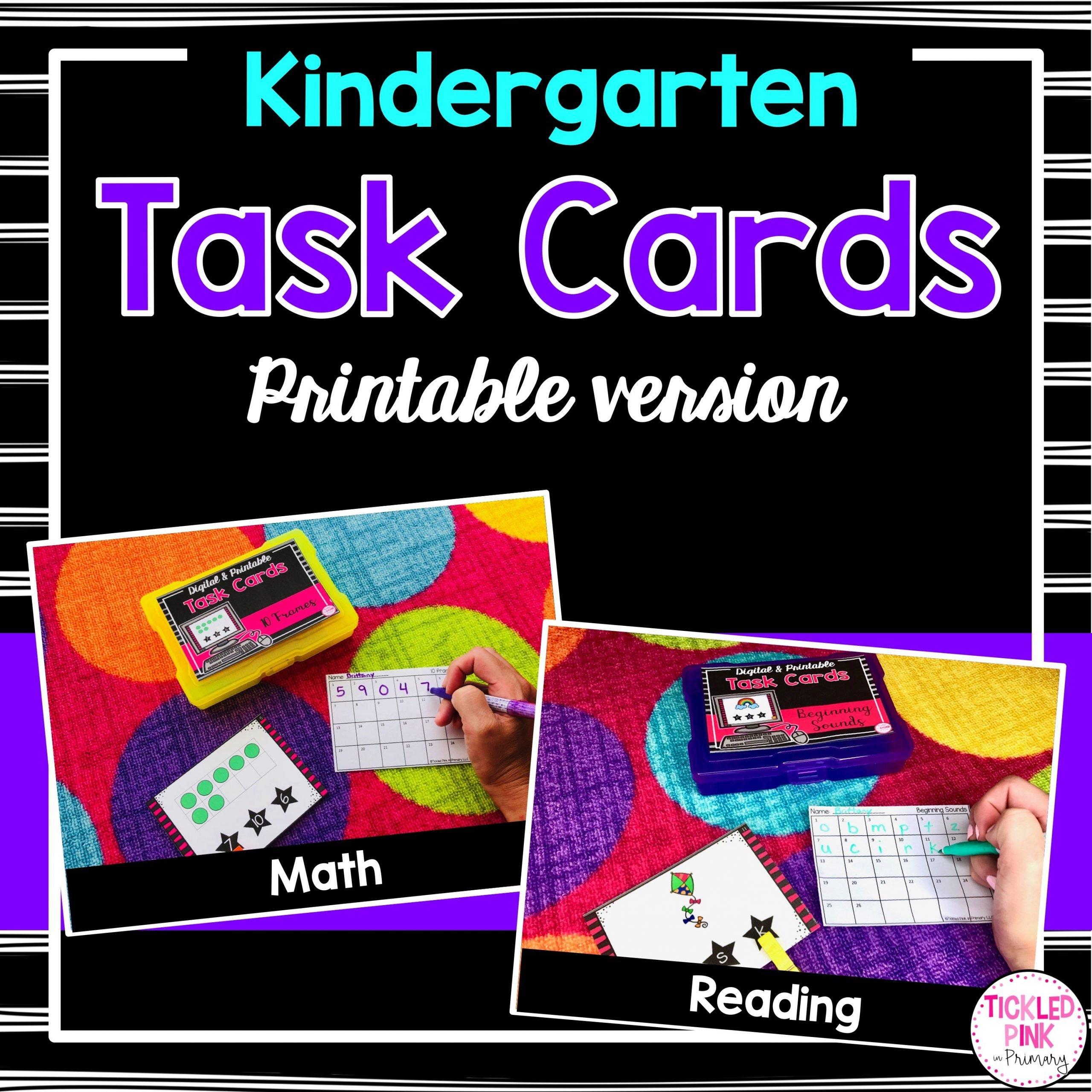 Kindergarten Task Cards Printable Version Tickled Pink