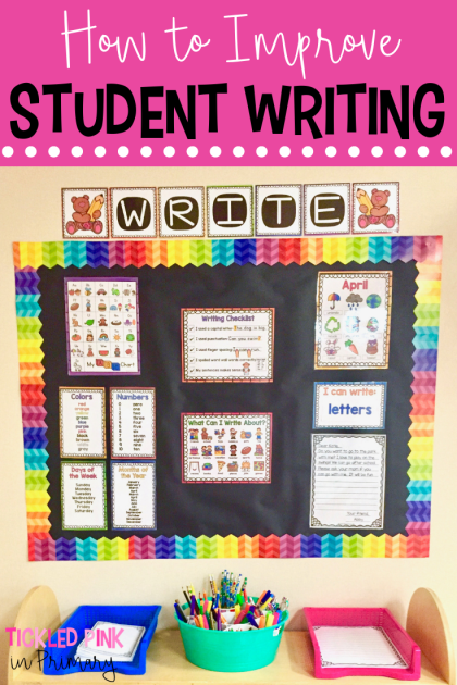 Click to find ways to improve writing in the classroom and motivate students to want to write! #writingcenter #writing #kindergarten #firstgrade