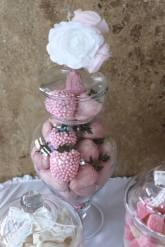 Choc coated pink strawberries engagement party