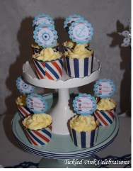 Nautical Baptism Christening party table cupcakes