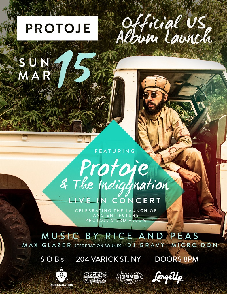 "Protoje ""Ancient Future"" album launch flyer"