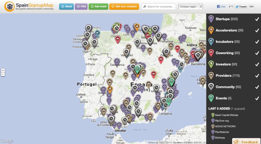 Mapa interactivo sobre el ecosistema startups España