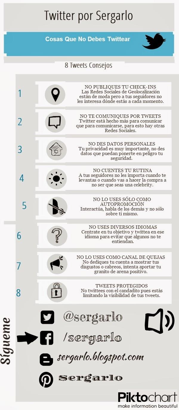 Cosas que NO debes tuitear #infografia #infographic #socialmedia - TICs y Formación