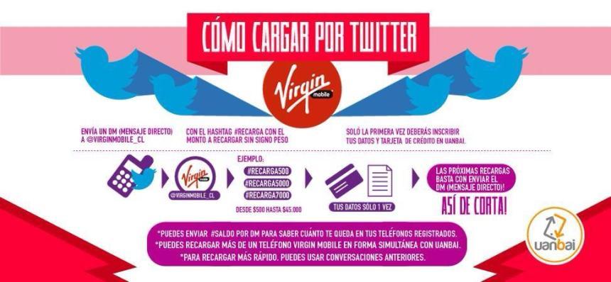 Los usuarios de Virgin mobile Chile pueden recargar sus móviles en Twitter