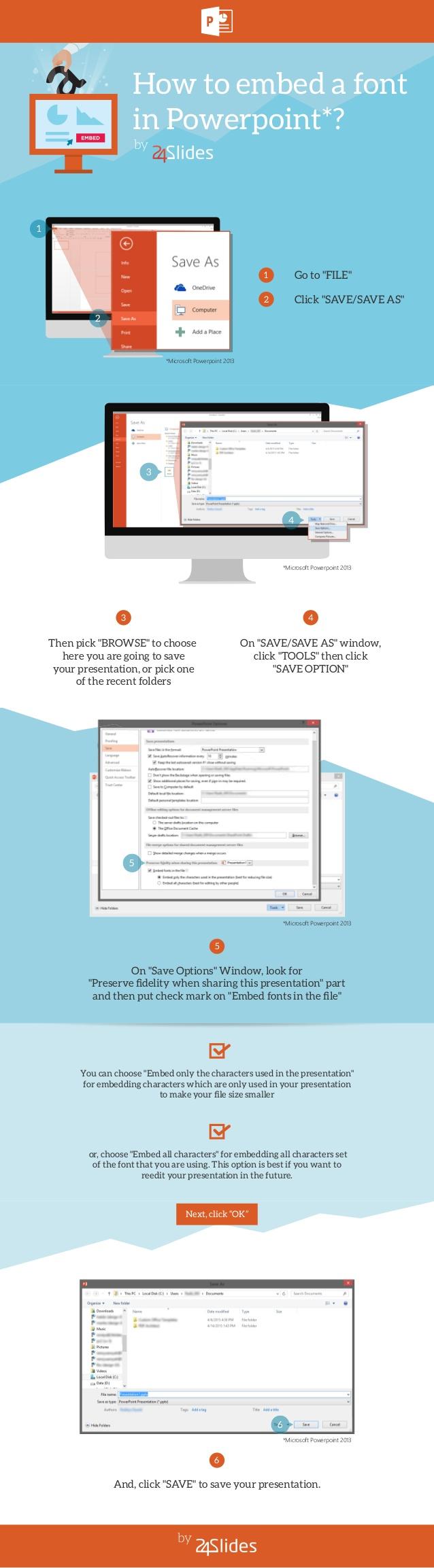 Cómo incrustar una fuente en una presentación PowerPoint