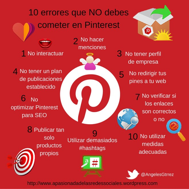 10 errores que no debes cometer en Pinterest