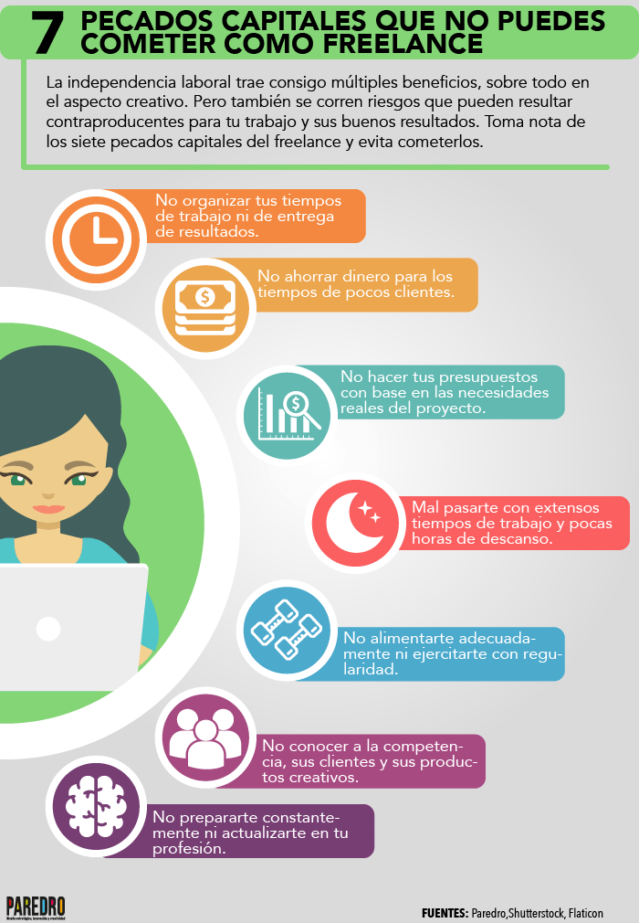 7 pecados capitales del Freelance #infografia