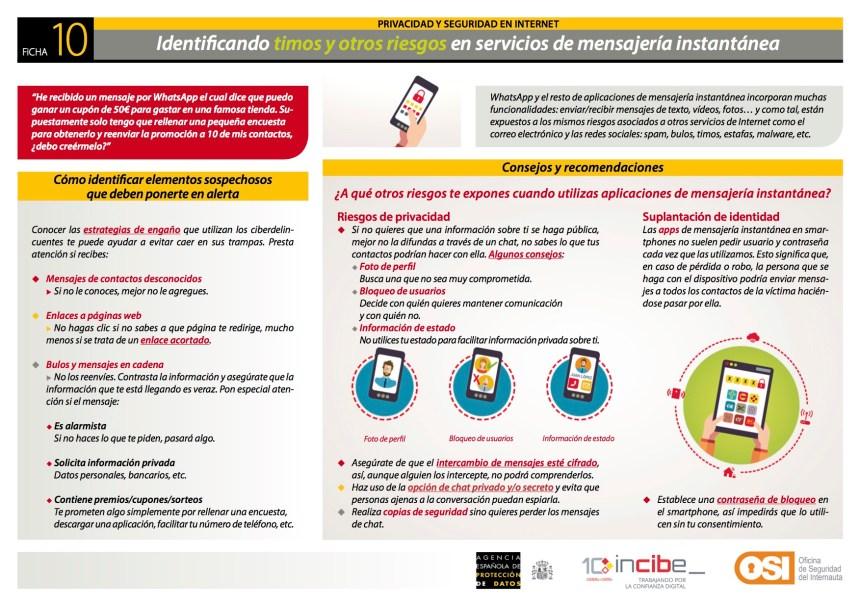 timos y otros riesgos en mensajería instantánea