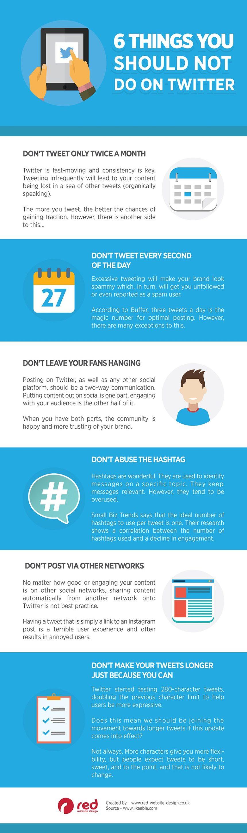 6 cosas que no debes hacer en Twitter