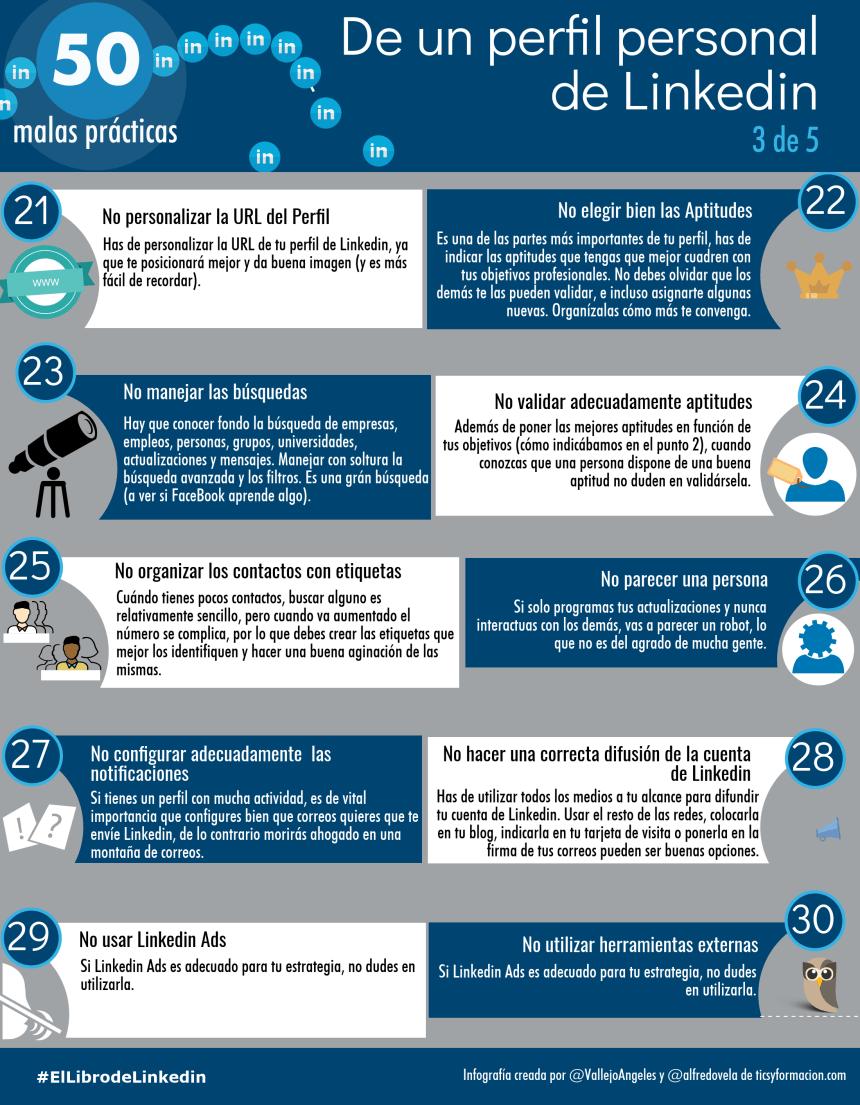 50 malas prácticas de un perfil de LinkedIn (3 de 5)
