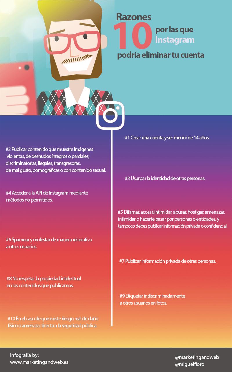 10 razones por las que Instagram podría eliminar tu cuenta