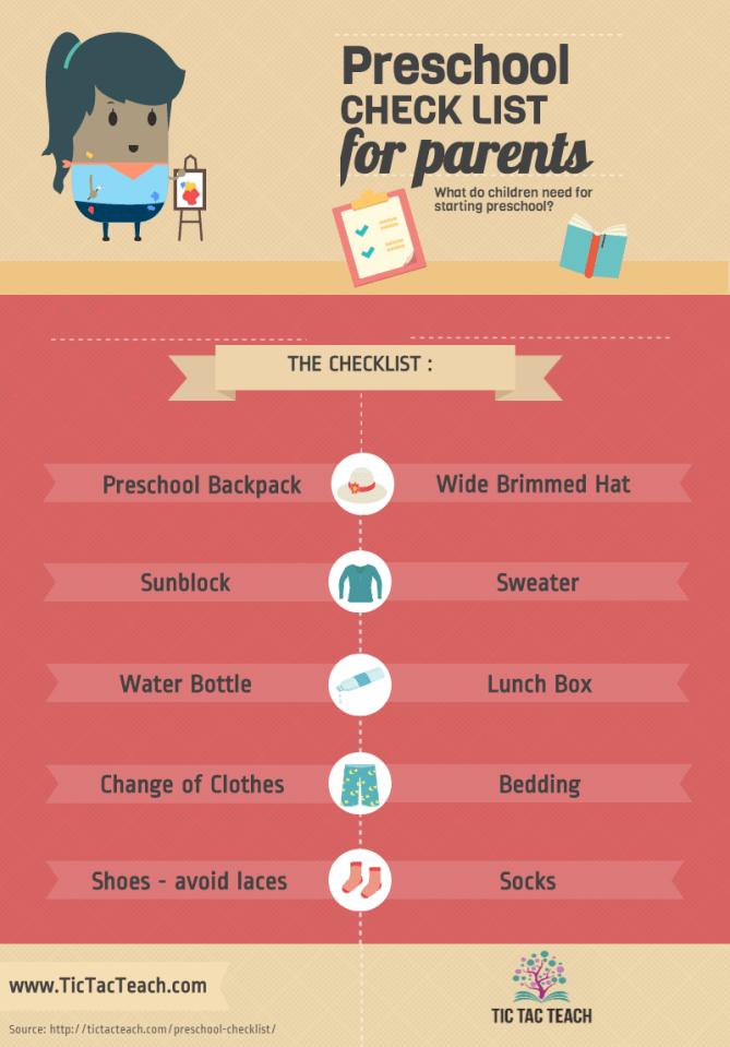 Preschool Checklist for Parents - TicTacTeach