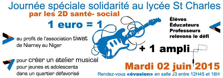 """Challenge """"un euro pour une guitare"""" au lycée Saint Charles"""