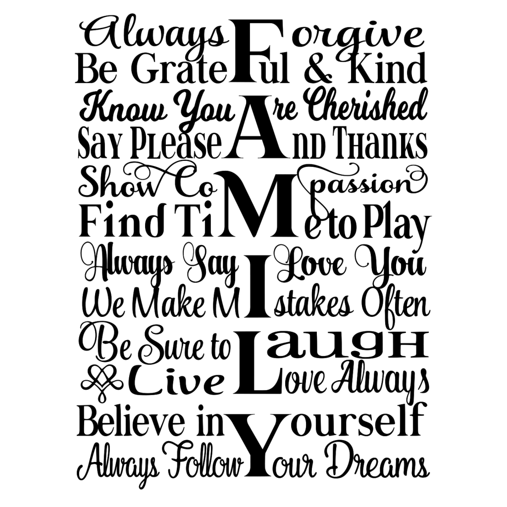 Family Subway Art Word Art Svg Tidbits And Tinkerings