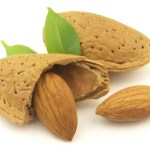 Whole Almonds with brown skins intact