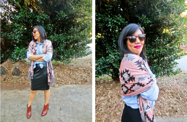outfit: chambray shirt, scarf, leather skirt | tide & bloom