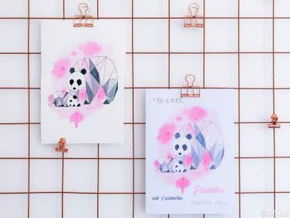 Carte pandas origami et aquarelle - à imprimer pour la Fête des Mères