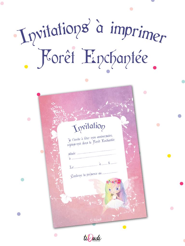Invitations à imprimer sur le thème de la Forêt Enchantée par tiDudi