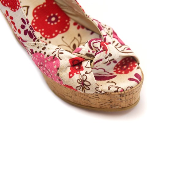 Floral cork wedge sandals
