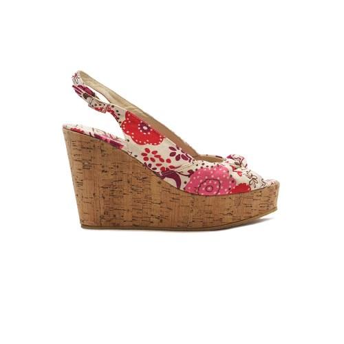 Floral cork wedge sandals