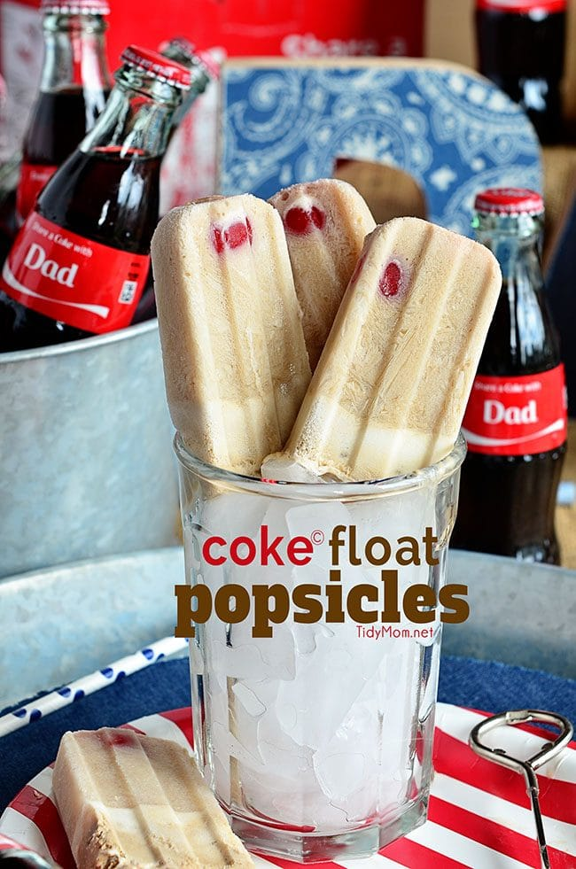 Coke Float Popsicles. Ice cold Coca-Cola with vanilla ice cream and a cherry on top all frozen together for one delicious treat! at Tidymom.net #shareacoke