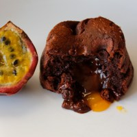 Fondant au chocolat et fruit de la passion