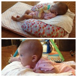 Made a pallet on the floor. TV helps with Tummy Time!