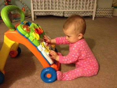 Occupied with a new favorite toy.