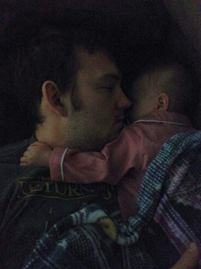Sleeping good with Dad!