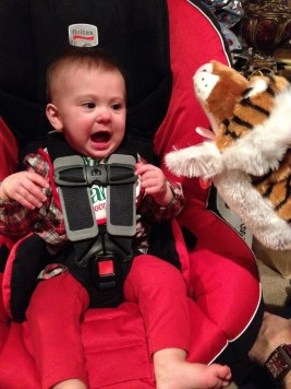She had a screaming contest with her new puppet. Despite the looks, she is HAPPILY screaming :)