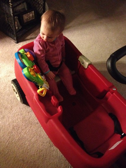 The wagon comes in handy to keep her contained!