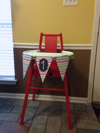 My mother in law made the bunting for her high chair!
