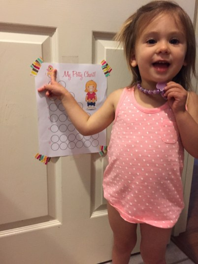 Day 1: First success, sticker, and reward! Prior to nap she was at 3 accidents and 2 successes.