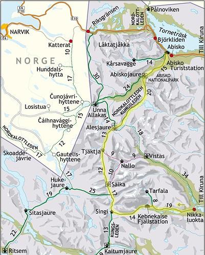 Unsere Route (gelb) von Nikkaluokta nach Abisko (Quelle: svenskaturistforeningen.se)