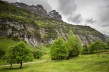Aus der Ferne. Die Kühe darunter geben eine Idee der Grösse des Wasserfalls.
